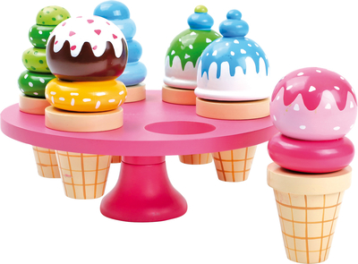 Ice cream 6pcs on a rack, wooden