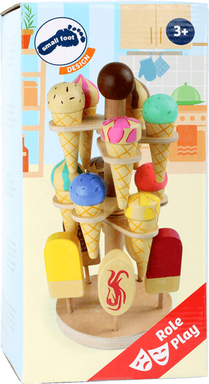 Ice creams 15pcs with movable stand, wooden