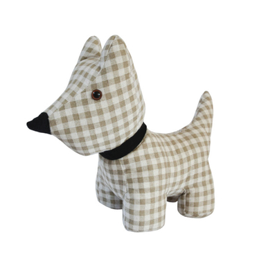 Isabelle Rose door stop dog, checkered