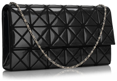 L&S evening bag with embossed pattern, black
