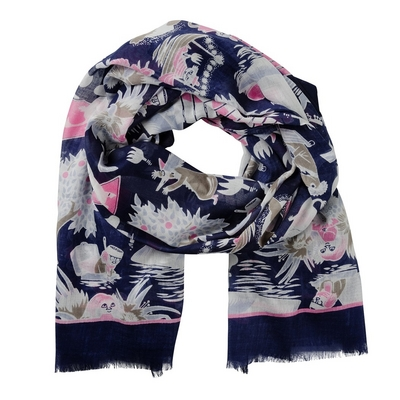 Lasessor Moomin Midsummer Day scarf, dark blue