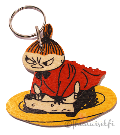 Little My on a plate wooden key ring