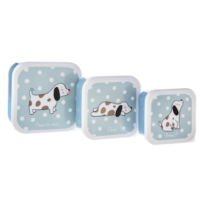 Lunch box set of 3, Barney dog, blue