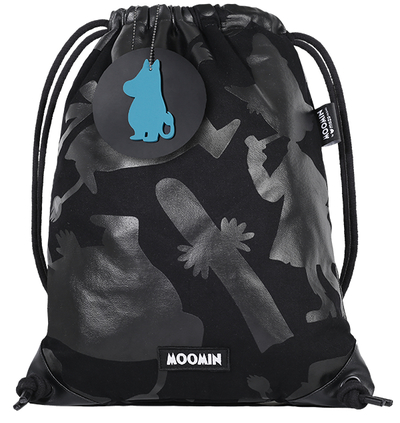 MOZO Moomin drawstring backpack, Shadows, black