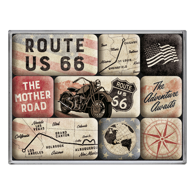 Magnet set Route 66 Bike Maps, 9pcs