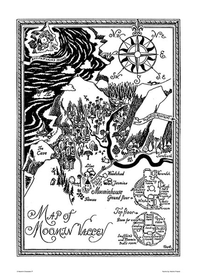 Map of Moomin Valley big poster 50x70cm