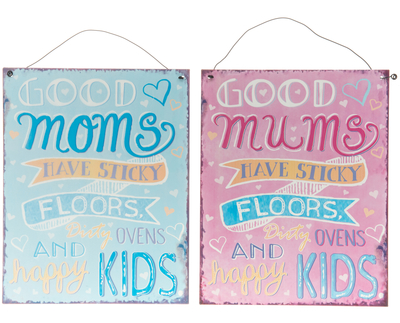 Metal sign Good Mums, 19x24cm, different colors