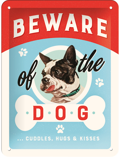 Metallikilpi Beware of the dog, 15x20cm