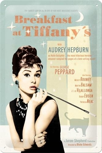 Metallikilpi Breakfast at Tiffany's 20 x 30cm