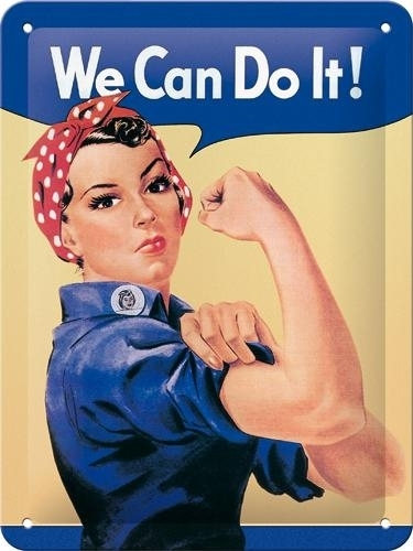 Metallikilpi We Can Do It! 15x20cm