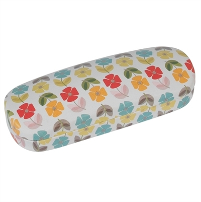 Mid Century Poppy glasses case with a cleaning cloth