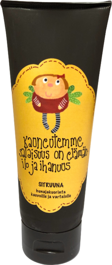 "Mollimaija's honey scrub for the face and body, lemon, ""Kauneutemme salaisuus on.."""