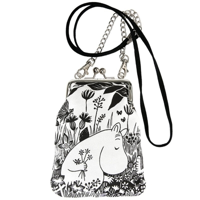"Moomin ""Vinssi"" purse bag On the Meadow, black and white"