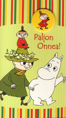 "Moomin 2-sided card with a badge, green, ""Paljon Onnea!"""