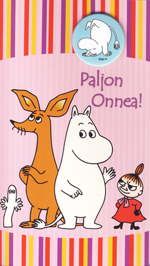 "Moomin 2-sided card with a badge, pink, ""Paljon Onnea!"""