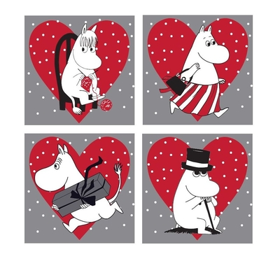 Moomin Christmas coaster, heart, 4pcs set