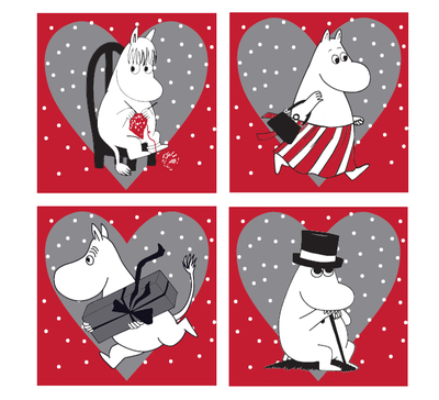 Moomin Christmas coasters, set of 4
