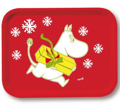 Moomin Christmas serving tray, Moomintroll and a present