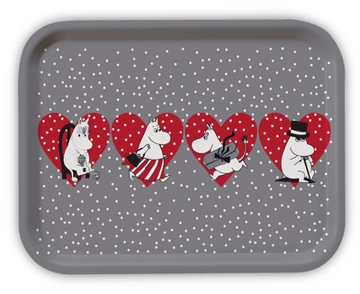 Moomin Christmas serving tray, heart, grey