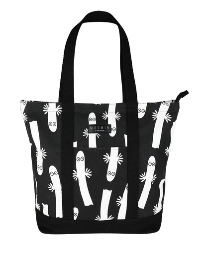 Moomin Kampsu shopper bag Hattifatteners, black/white