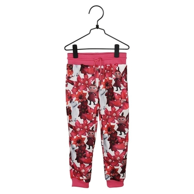 Moomin Magenta flower children's jersey trousers, light pink