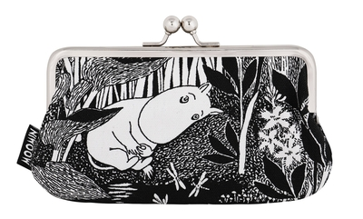 Moomin Miska make up bag / big purse Moomintroll daydreaming, black/white