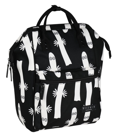 Moomin Samu backpack Hattifatteners, black/white