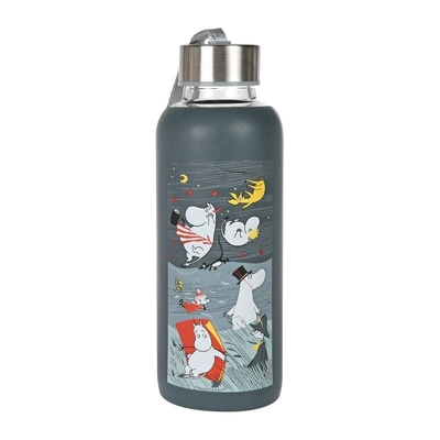 Moomin Storm drinking bottle with silicone surface, blue