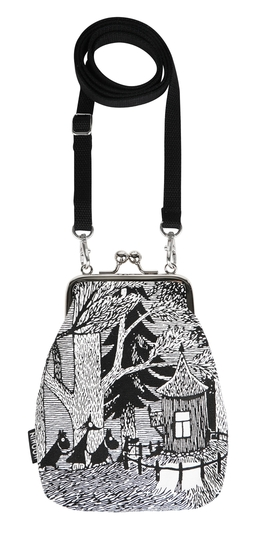 Moomin Vinssi purse bag Adventure, black/white