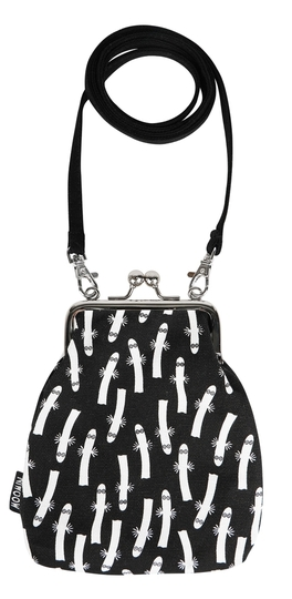 Moomin Vinssi purse bag Hattifatteners, black/white