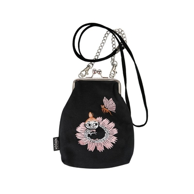 Moomin Vinssi purse bag little My and Butterfly with a chain, black