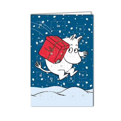 Moomin advent calendar 2-part card Moomintroll and a gift