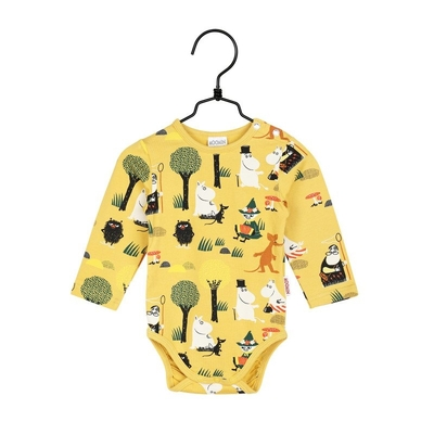 Moomin baby's Forest trip bodysuit, yellow