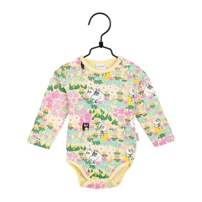 Moomin baby's Lehvät body suit, yellow