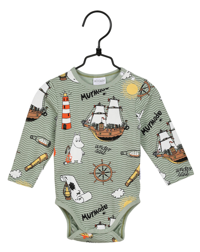 Moomin baby's Murmade body suit, green