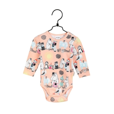 Moomin baby's Summer day body suit, melon-colored