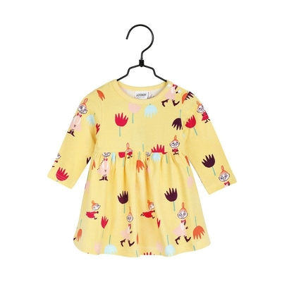 Moomin baby's Tulips body suit dress, yellow