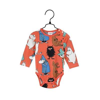 Moomin baby's body suit On Watch, orange