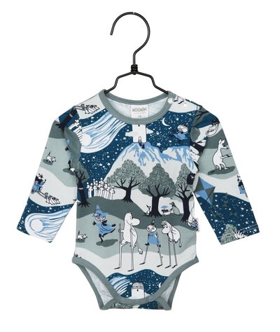 Moomin baby's body suit the Comet, petrol