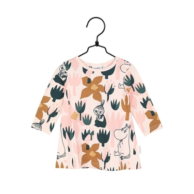 Moomin baby's dress Blooming, rose