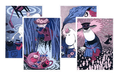 Moomin card set, 1-part, J. Zambra, 4-set