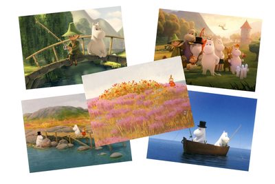 Moomin card set, 1-part, animation, 5-set