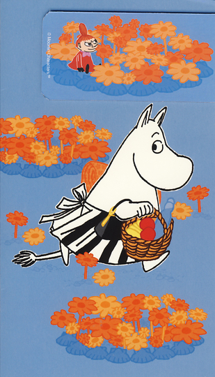 Moomin card with a bookmark magnet, Moominmamma & Little My