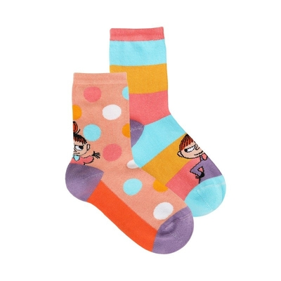 Moomin children's Little My socks 2-set, coral