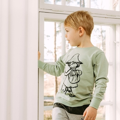 Moomin children's Sketch jersey knit shirt Snufkin, green