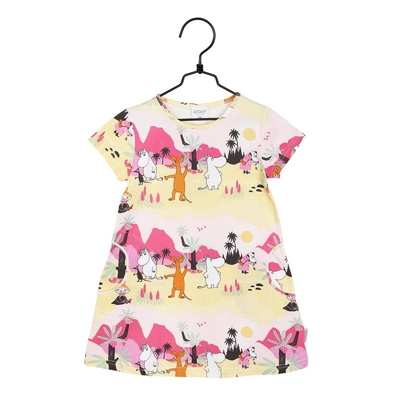 Moomin children's pocket dress Tropical, pink