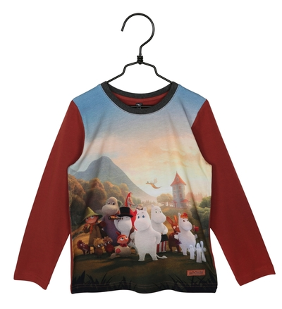 Moomin children's shirt Moominvalley, brick red