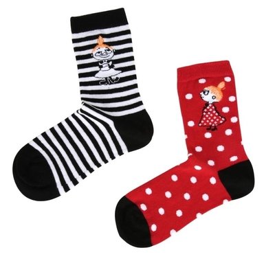 Moomin children's socks 2 pairs, Little My ball/stripes, red, different sizes