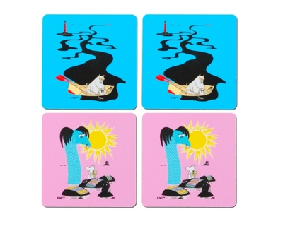 Moomin coaster Keep Sweden Tidy, 4-pack