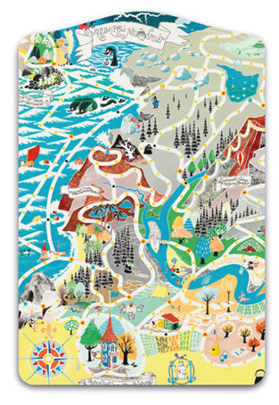 Moomin cutting board, Japan Map